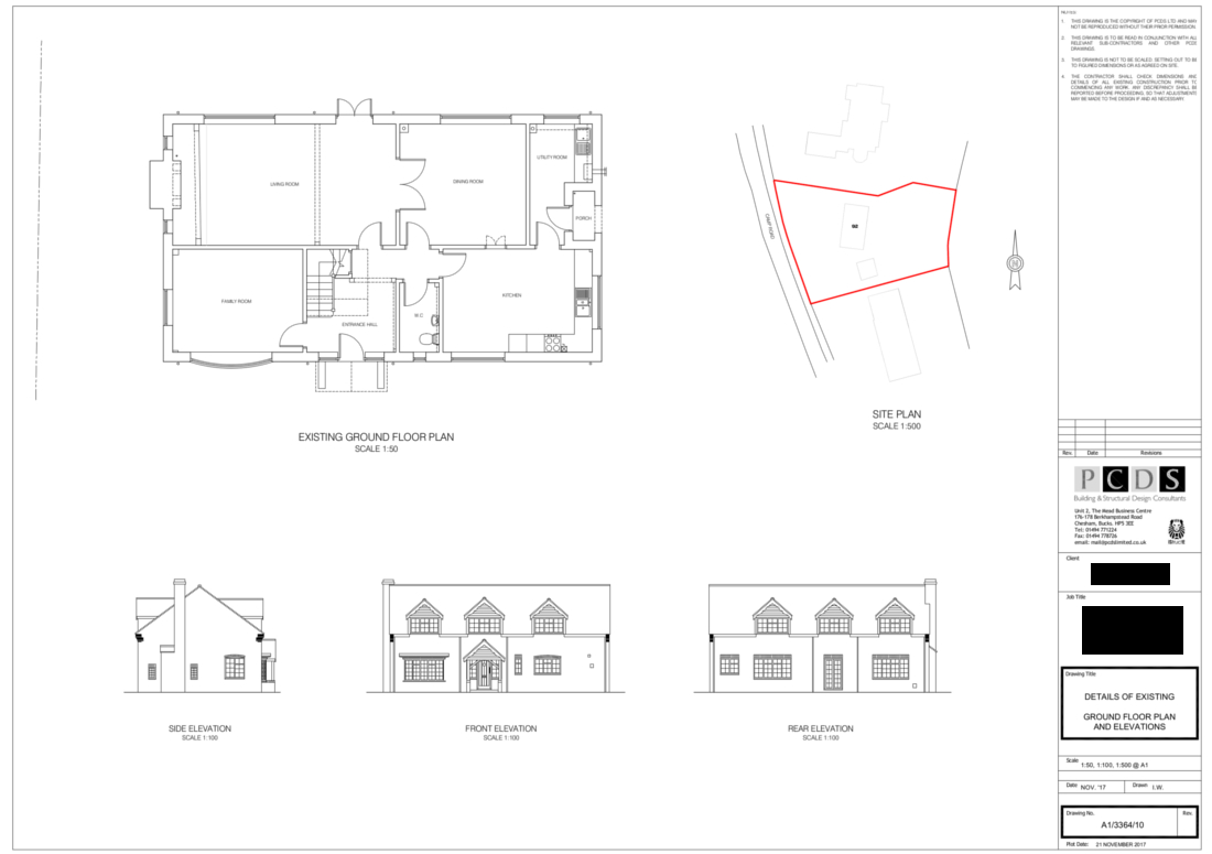 Camp Road Refurbishment drawings of the existing house