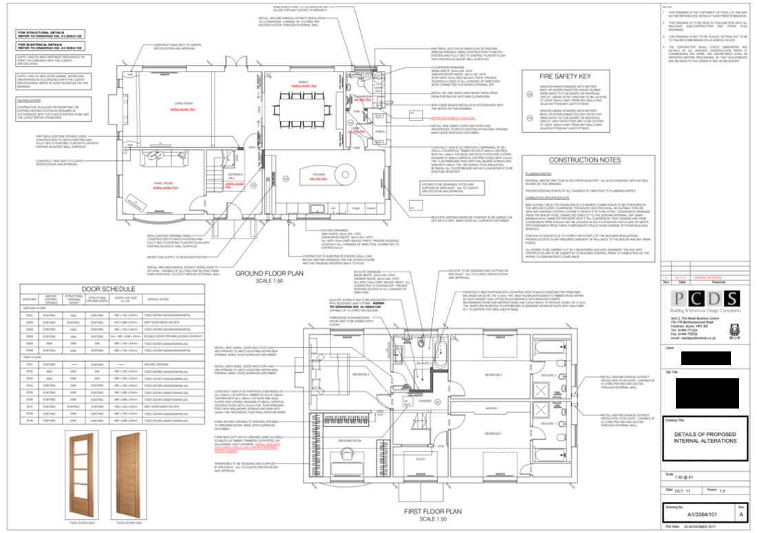 Camp Road Refurbishment construction drawings which comply with the Building Regulations