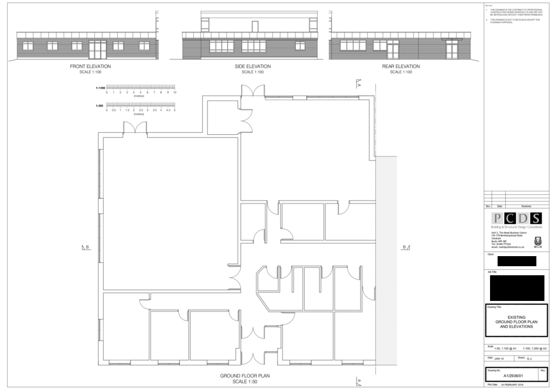 Chesham Rugby Club Existing Floor plans and elevations